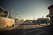 A deserted street of Coney Island in November, during the off season of the amusement park, Brooklyn, New York, 2010.