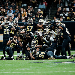 Nov 19, 2017; New Orleans, LA, USA; New Orleans Saints players celebrate by posing after an interception the play was later overturned by officials following a replay review during the second quarter of a game at the Mercedes-Benz Superdome. Mandatory Credit: Derick E. Hingle-USA TODAY Sports