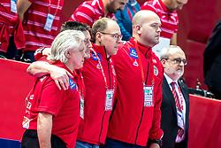 12.05.2017, Zatika Sport Centre, Porec, CRO, EHF EM, Herren, Österreich vs Frankreich, Gruppe B, im Bild v.l. Rudolf Stuck (AUT), Andre Kintscher (AUT), Erwin Gierlinger (AUT), Trainer Patrekur Johannesson (AUT) // during the preliminary round, group B match of the EHF men's Handball European Championship between Austria and France at the Zatika Sport Centre in Porec, Croatia on 2017/05/12. EXPA Pictures © 2018, PhotoCredit: EXPA/ Sebastian Pucher