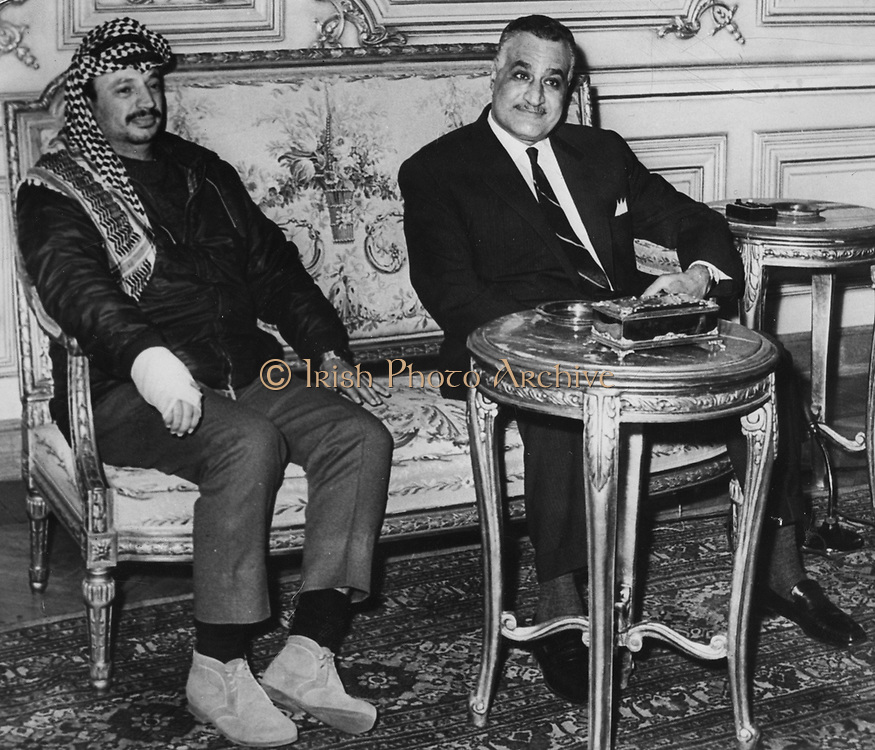 Gamal Abdul Nasser (1918-1970) President of Egypt, with Yasser Arafat (1929-2004) Chairman of the Palestine Liberation Organisation (PLO) in Cairo, 1969.