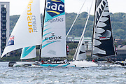 GAC Pindar and Emirates Team New Zealand, day two of the Cardiff Extreme Sailing Series Regatta. 23/8/2014