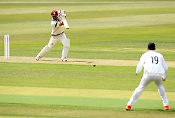 Somerset's James Hildreth hits the ball towards Hampshire's Danny Briggs - Photo mandatory by-line: Robbie Stephenson/JMP - Mobile: 07966 386802 - 21/06/2015 - SPORT - Cricket - Southampton - The Ageas Bowl - Hampshire v Somerset - County Championship Division One