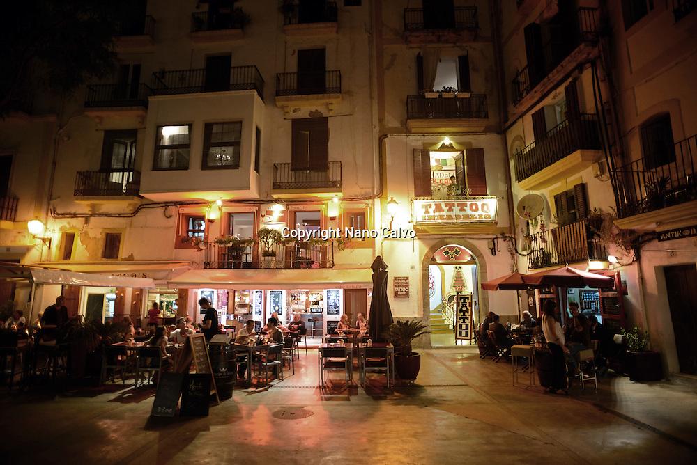 Ibiza town at night, Balearic Islands, Spain