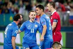 Players of Kazakhstan celebrate goal during futsal quarter-final match between National teams of Kazakhstan and Serbia at Day 7 of UEFA Futsal EURO 2018, on February 5, 2018 in Arena Stozice, Ljubljana, Slovenia. Photo by Urban Urbanc / Sportida