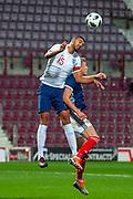 Jake Clarke-Salter (#15) of England U21s (Vitesse Arnhem, loan from Chelsea) wins a header during the U21 UEFA EUROPEAN CHAMPIONSHIPS match between Scotland and England at Tynecastle Stadium, Edinburgh, Scotland on 16 October 2018.