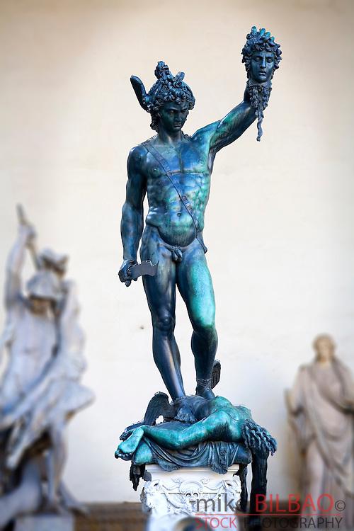 Statue of Perseus with the Head of the Medusa (Benvenuto Cellini). Piazza della Signoria. Florence, Tuscany region, Italy