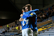 Goal - Bradley Lethbridge (40) of Portsmouth celebrates after he scores a goal to make the score 1-1 with Leon Maloney (29) of Portsmouth during the Leasing.com EFL Trophy match between Oxford United and Portsmouth at the Kassam Stadium, Oxford, England on 8 October 2019.
