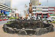 """KUCHING, MALAYSIA - AUGUST 26, 2009: Exterior of the Cats monument in downtown Kuching, Malaysia. Due to abundance of cats in the area Kuching is often called  """"The cats city""""."""
