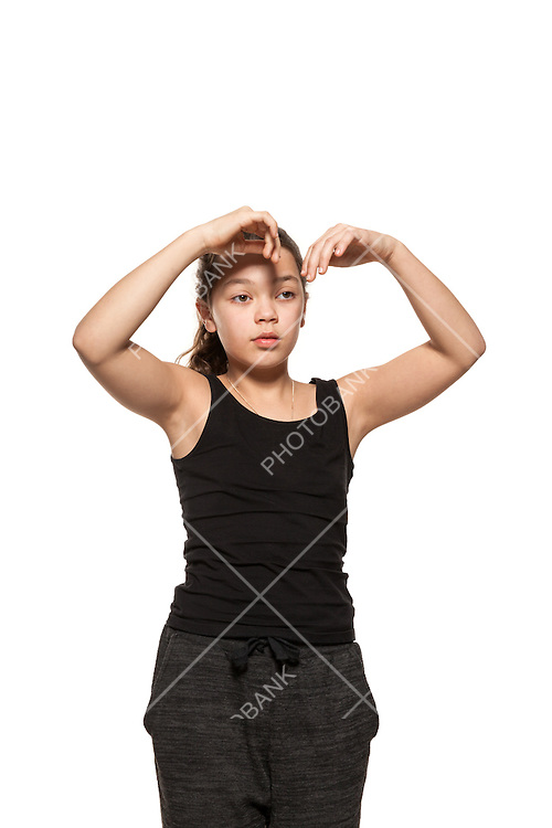 Portrait of bored girl with with arms raised, isolated on white background