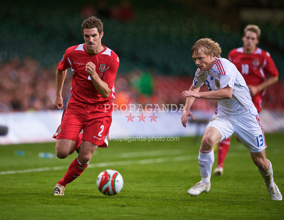 CARDIFF, WALES - Wednesday, September 9, 2009: Wales' Sam Ricketts in action against Russia during the FIFA World Cup Qualifying Group 3 match at the Millennium Stadium. (Photo by David Rawcliffe/Propaganda)