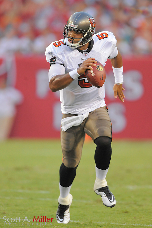 Tampa Bay Buccaneers quarterback Josh Freeman (5) runs upfield during  the Bucs game against the Miami Dolphins at Raymond James Stadium on Aug. 27, 2011 in Tampa, Fla...©2011 Scott A. Miller