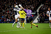 West Bromwich Albion forward Jay Rodriguez (19) misses with this header during the EFL Sky Bet Championship match between West Bromwich Albion and Blackburn Rovers at The Hawthorns, West Bromwich, England on 27 October 2018.