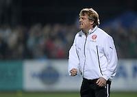 Fussball  2. Bundesliga  Saison 2013/2014  13. Spieltag VfR Aalen - Fortuna Duesseldorf    01.11.2013 Trainer Mike Bueskens (Fortuna Duesseldorf) emotional