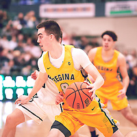 3rd year guard, Benjamin Hillis (8) of the Regina Cougars during the Men's Basketball Home Game on Fri Feb 01 at Centre for Kinesiology,Health and Sport. Credit: Arthur Ward/Arthur Images