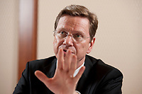 10 NOV 2010, BERLIN/GERMANY:<br /> Guido Westerwelle, FDP, Federal Minister of Foreign Affairs Germany, during an interview, Department of Foreign Affairs<br /> Guido Westerwelle, FDP, Bundesaussenminister, waehrend einem Interview, Auswaertiges Amt<br /> IMAGE: 20101110-01-008