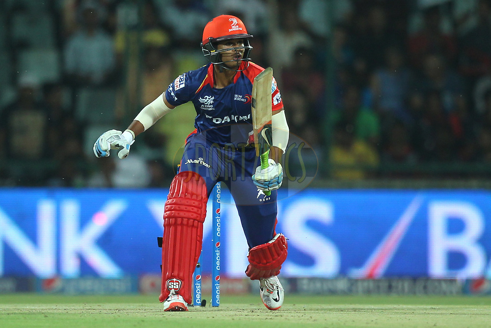 Shreyas Iyer of the Delhi Daredevils in action during match 21 of the Pepsi IPL 2015 (Indian Premier League) between The Delhi Daredevils and The Mumbai Indians held at the Ferozeshah Kotla stadium in Delhi, India on the 23rd April 2015.<br /> <br /> Photo by:  Deepak Malik / SPORTZPICS / IPL