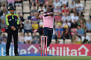 Dwayne Bravo of Middlesex bowling during the Vitality T20 Blast South Group match between Hampshire County Cricket Club and Middlesex County Cricket Club at the Ageas Bowl, Southampton, United Kingdom on 20 July 2018. Picture by Dave Vokes.