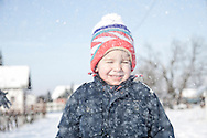Boys, Bobble Hat, Snowing, Innocence, Carefree, Happiness, Portrait,