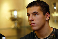 Fotball: An early Christmas present for Reds fans as Liverpool unveil Czech international striker Milan Baros at a press conference at Anfield. Monday 24th December 2001.<br />