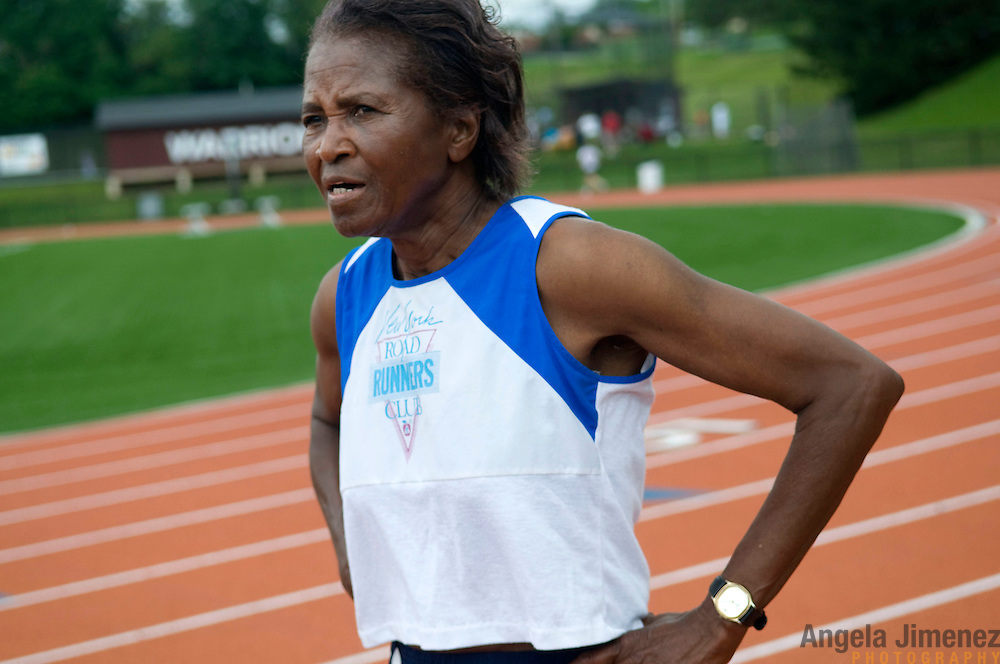 Date: 6/27/09.Desk: NAT.Slug: aging$500.Assign Id: 30081997A..Thelma Wilson, 79, of Manhattan, New York, catches her breath after competing in the 400 meter run at the 2009 USATF (USA Track & Field) East Region Masters Track & Field Championships at East Stroudsburg University in East Stroudsburg, Pennsylvania on June 27, 2009. Wilson was the oldest competitor in the race and the only runner in her 75-79 age category, running against women aged 39, 35 and 47. The overall winner, a 39-year-old, finished in 58.86; Wilson finished with a time of 1:42.88....Photo by Angela Jimenez for The New York Times .photographer contact 917-586-0916