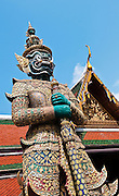 Thotkhirithon demon guardian figure at Wat Phra Kaeo on the grounds of The Grand Palace in Bangkok, Thailand.