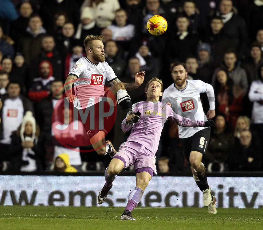 Johnny Russell of Derby County controls the ball acrobatically above Matej Vydra of Reading - Mandatory byline: Robbie Stephenson/JMP - 12/01/2016 - FOOTBALL - iPro Stadium - Derby, England - Derby County v Reading - Sky Bet Championship