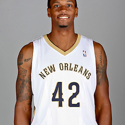 Sep 30, 2013; Metairie, LA, USA; New Orleans Pelicans small forward Lance Thomas (42) poses for a portrait at Pelicans Practice Facility. Mandatory Credit: Derick E. Hingle-USA TODAY Sports