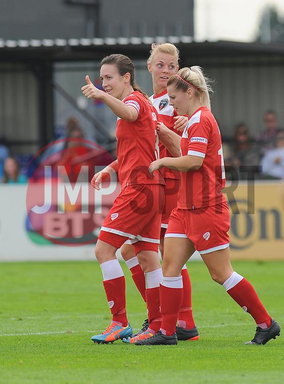 Bristol Academy Womens' Corinne Yorston celebrates her first goal with team mates. - Photo mandatory by-line: Nizaam Jones- Mobile: 07583 387221 - 28/09/2014 - SPORT - Women's Football - Bristol - SGS Wise Campus - BAWFC v Man City Ladies - sport