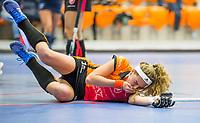 ROTTERDAM - NK Zaalhockey 2018 . halve finale dames Oranje Rood-Laren 3-5.   Yibbi Jansen van OR raakt geblesseerd .  COPYRIGHT KOEN SUYK