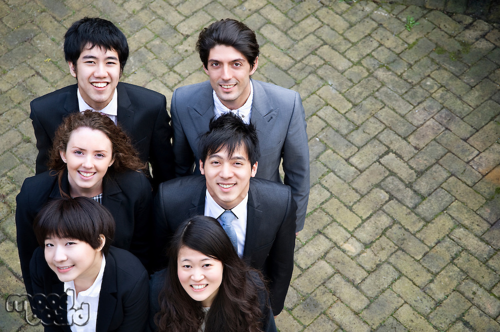 Happy multi ethnic business group