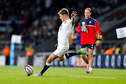England Fly-Half Owen Farrell kicks a conversion - Mandatory byline: Rogan Thomson/JMP - 07966 386802 - 15/08/2015 - RUGBY UNION - Twickenham Stadium - London, England - England v France - QBE Internationals 2015.