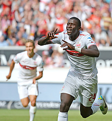 01.09.2013, Mercedes Benz Arena, Stuttgart, GER, 1. FBL, VfB Stuttgart vs TSG 1899 Hoffenheim, 4. Runde, im Bild TOR Torjubel, Jubel, Freude, Emotion Antonio Ruediger VfB Stuttgart nach seinem 1:0 (rechts), links Vedad Ibisevic VfB Stuttgart , , VfB Stuttgart gegen TSG 1899 Hoffenheim, Fussball Bundesliga Herren GER , 1. BL Spieltag 04 4. Spieltag, Saison 2013 2014 Stuttgart Mercedes-Benz Arena, 01.09.2013 // during the German Bundesliga 4th round match between VfB Stuttgart and TSG 1899 Hoffenheim at the Mercedes Benz Arena, Stuttgart, Germany on 2013/09/01. EXPA Pictures © 2013, PhotoCredit: EXPA/ Eibner/ Michael Weber<br /> <br /> ***** ATTENTION - OUT OF GER *****