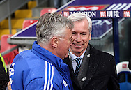 Crystal Palace Manager Alan Pardew greets Chelsea Manager Guus Hiddink before the Barclays Premier League match between Crystal Palace and Chelsea at Selhurst Park, London, England on 3 January 2016. Photo by Ken Sparks.