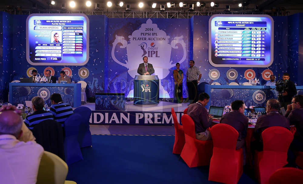 General View of the stage during the Pepsi IPL Player Auction held at the ITC Gardenia in Bengaluru, India on the 13th February 2014<br /> <br /> Photo by Sandeep Shetty/BCCI/SPORTZPICS