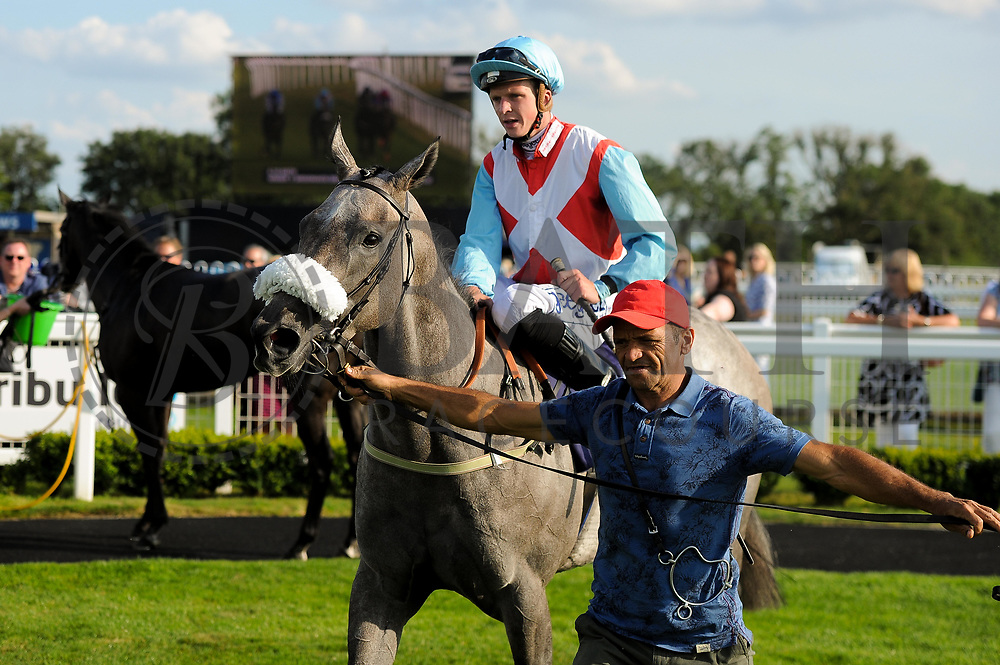 Thegreyvtrain ridden by David Probert and trained by Ronald Harris in the Visit Valuerater.Co.Uk For Best Free Tips Handicap (Value Rater Racing Club Summer Sprint Qual) race.  - Ryan Hiscott/JMP - 02/08/2019 - PR - Bath Racecourse - Bath, England - Race Meeting at Bath Racecourse