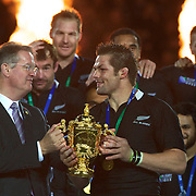 All Blacks Captain Richie McCaw receives the Web Ellis World Cup trophy after the New Zealand V France Final at the IRB Rugby World Cup tournament, Eden Park, Auckland, New Zealand. 23rd October 2011. Photo Tim Clayton...