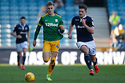 Millwall defender Ryan Leonard (28) chases Preston North End midfielder Brad Potts (44) during the EFL Sky Bet Championship match between Millwall and Preston North End at The Den, London, England on 23 February 2019.