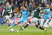 Josh Grant fails to block a Luke Varney shot that creeps just wide of the goal  during the EFL Sky Bet League 2 match between Plymouth Argyle and Cheltenham Town at Home Park, Plymouth, England on 21 September 2019.