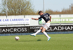 Falkirk's Rory Loy scoring their first goal.<br /> half time : Falkirk 2 v 1 Raith Rovers, Scottish Championship game played today at The Falkirk Stadium.<br /> © Michael Schofield.