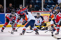 KELOWNA, CANADA - AUGUST 30:  Connor Ingram #39 of the Kamloops Blazers defends the net against the Kamloops Blazers on August 30, 2014 during pre-season at Prospera Place in Kelowna, British Columbia, Canada.   (Photo by Marissa Baecker/Shoot the Breeze)  *** Local Caption *** Connor Ingram;