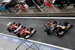 Motorsports / Formula 1: World Championship 2010, GP of Korea, 06 Mark Webber (AUS, Red Bull Racing),   08 Fernando Alonso (ESP, Scuderia Ferrari Marlboro), 07 Felipe Massa (BRA, Scuderia Ferrari Marlboro),