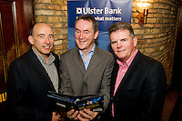 "19/7/2011. Bobby Bergin , Ulster Bank, John Crumlish, Galway Arts Festival and Brendan McDermott, Ulster Bank in McSwiggans for the pre show reception of Propellors ""Comedy of Errors"" by Shakspeare in the Galway Arts Festival, sponsored by Ulster Bank. Photo:Andrew Downes"