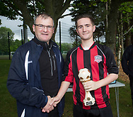 FC Kettledrum's Jake Davidson is presented with the Dundee Saturday Morning Football League first division player of the year trophy by league president Steve McSwiggan -  at University Grounds, Riverside<br /> <br /> <br />  - &copy; David Young - www.davidyoungphoto.co.uk - email: davidyoungphoto@gmail.com