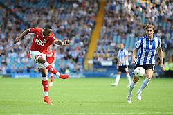 Jonathan Kodjia of Bristol City takes a shot at goal - Mandatory byline: Dougie Allward/JMP - 07966386802 - 08/08/2015 - FOOTBALL - Hillsborough Stadium -Sheffield,England - Sheffield Wednesday v Bristol City - Sky Bet Championship