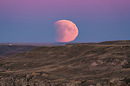 The Full Moon rising in partial eclipse on the night of September 27, 2015, night of a total eclipse that began with the partial phase in progress at moonrise from my location. The pink Belt of Venus colours the sky at top. The Moon sits in the blue shadow of the Earth, which also partly obscures the disk of the Moon. <br /> <br /> I shot this from Writing-on-Stone Provincial Park, Alberta. <br /> <br /> This is through the TMB 92mm refractor for a focal length of 550mm using the Canon 60Da at ISO 400 for 1/250 second.