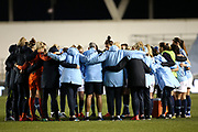 Manchester City Women's Team post game team talk during the FA Women's Super League match between Manchester City Women and Everton Women at the Sport City Academy Stadium, Manchester, United Kingdom on 20 February 2019.
