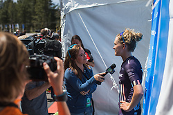Tayler Wiles (USA) of Trek-Drops Cycling Team talks to the press after Stage 2 of the Amgen Tour of California - a 108 km road race, starting and finishing in South Lake Tahoe on May 18, 2018, in California, United States. (Photo by Balint Hamvas/Velofocus.com)