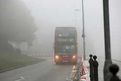 © Licensed to London News Pictures. 24/11/2019. London, UK. A bus drives through thick fog in north London on a freezing morning. Photo credit: Dinendra Haria/LNP
