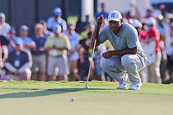 September 21, 2018 - Atlanta, Georgia, United States - Tiger Woods lines up a putt on the 18th green during the second round of the 2018 TOUR Championship. (Credit Image: © Debby Wong/ZUMA Wire)