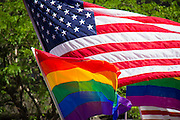 Gay Pride Parade in Salt Lake City Utah. US and Pride Flags.